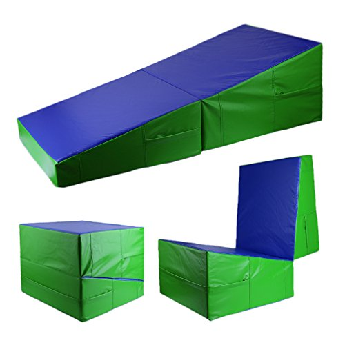 "Gymnastics Cheese Mat Folding Incline Wedge Gym Exercise Aerobics Tumbling Ramp Mat 48""x24""x14"""