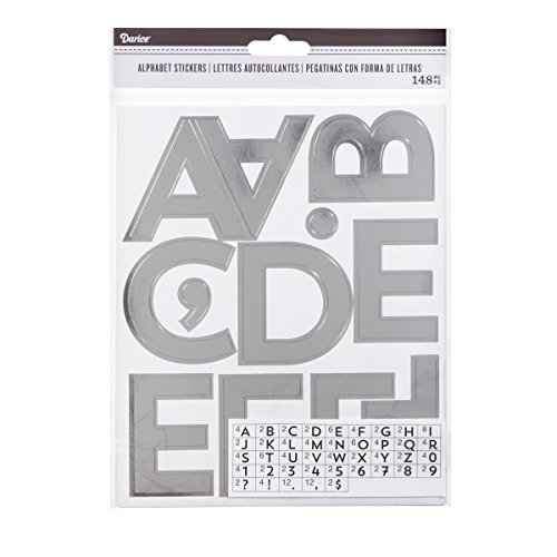 Darice Silver Alphabet Adhesive Backed Stickers, 100 Piece (Silver Glitter Sticker Letters)