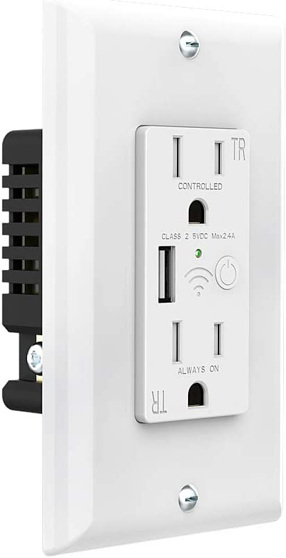 SAFEMORE Smart WiFi Wall Mount Outlet Plug with USB Port(5V/ 2.4A),15-Amp TR Receptacle,110-125Volt,Independent Control,No Hub Required, ETL Listed Wall Socket Compatible with Alexa/Google Home-White