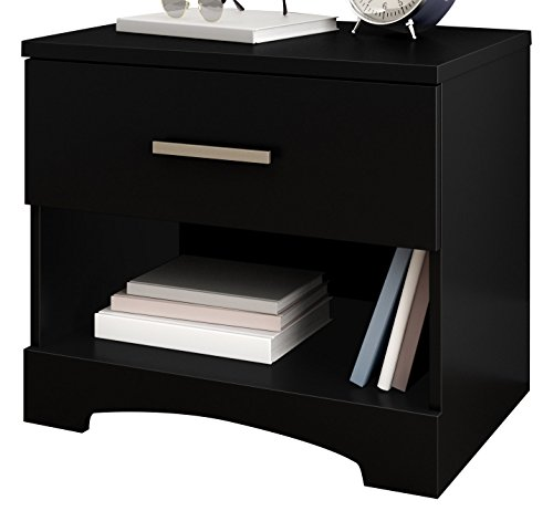 - South Shore Gramercy 1-Drawer Nightstand, Pure Black with Metal Handle