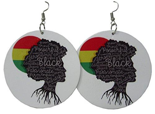 Africa Rasta Earrings''Reggae Earrings'' Jamaican Earrings Africa Map Earrings-Drop Rasta Earrings (White Roots Rasta) by Rasta Collection by Exotic & Trendy
