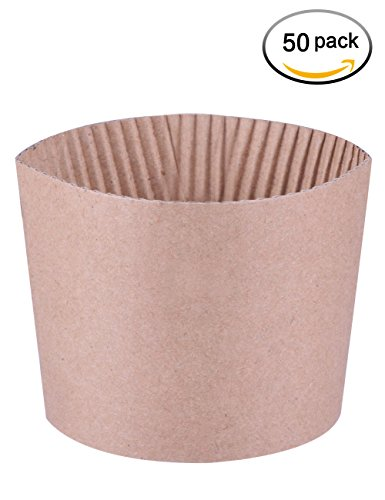 Luckypack 50 Count Cup Sleeve Corrugated Jacket Cafe Drink  Disposable Paper Coffee Cup Sleeves Reusable Holder Cardboard For Hot Drinks, 12oz./16 oz./20 oz. Disposable Holder