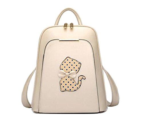 FAIRYSAN Mujeres Chicas Señoras Mochila Moda Bolsa De Hombro Mochila PU Leather Travel Daypack School Bags (Rojo) beige
