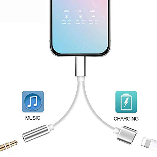 for iPhone X Adapter to 3.5mm Headphone Jack Adapter Audio AUX Connector for iPhone 11 Pro/Xs/Xs Max/XR/8/8 Plus /7/7 Plus Dongle Earphone Splitter Adaptor 2 in 1 Charge&Audio Converter Charger Cable