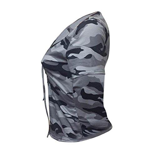 c7e0c706daa0c0 JIANGfu Mode Frauen Kurzarm-Shirt Dünne beiläufige Bluse Camouflage Print  Tops V-Ausschnitt Baumwolle ...