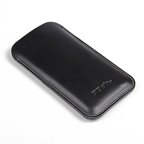 """Apple iPhone 6 (4.7"""") Simple Leather Pouch Case Protective Carrying Phone Case / Cover (Handmade Genuine Leather) (Black) by Pdair"""