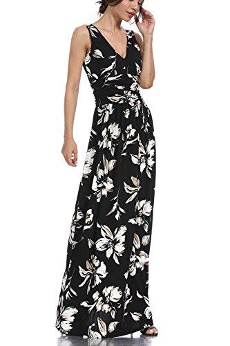 Dress Crossover Bodice (Women Sleeveless Deep V Neck Loose Plain Long Maxi Casual Dress Print Smocked Waist Maxi Dress Plus & Regular Sizes (CX048-1, S))