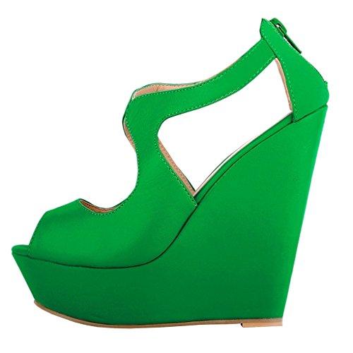 mujer MERUMOTE de Sandalias Matte vestir para Green qrIRcrFU
