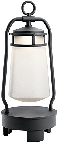 Kichler  49500BKTLED Lyndon Portable LED Lantern with Built-in Bluetooth Speaker, 1-Light, Textured Black
