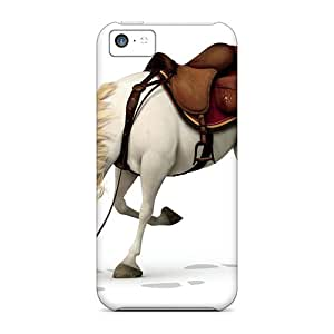 Rugged Skin Case Cover For Iphone 5c- Eco-friendly Packaging(cartoons Tangled Horse)