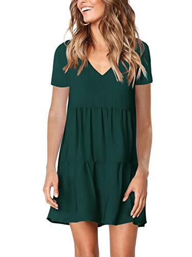 Amoretu Summer Short Sleeve Tunic Dress for Women Swing Shift Dresses Green M