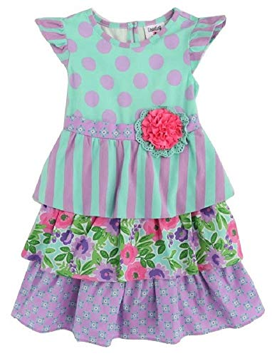 Counting Daisies Girls Size 2T-6X Mint Dot Lilac Floral Ruffle Dress (3T)
