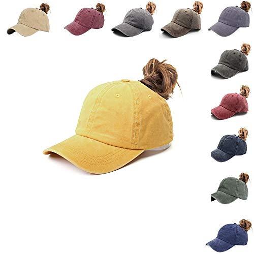 NeuFashion Men Women Vintage Cotton Washed Distressed Dad Hats Baseball Cap Twill Plain Adjustable Dad-Hat ()