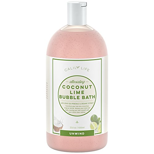 Calily Life Tropical Aromatherapy Coconut and Lime Bubble Bath, Soak and Wash, 33.8 Oz.– Infused with Pure Essential Oils; Coconut, Lime, Aloe Vera & Organic Extracts – Relaxes, Soothes & Nourishes