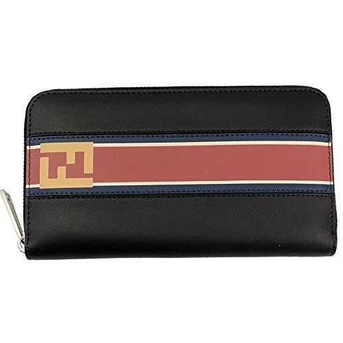 (Fendi Black Leather Zip Around Long Wallet 7M0210 A1R2)