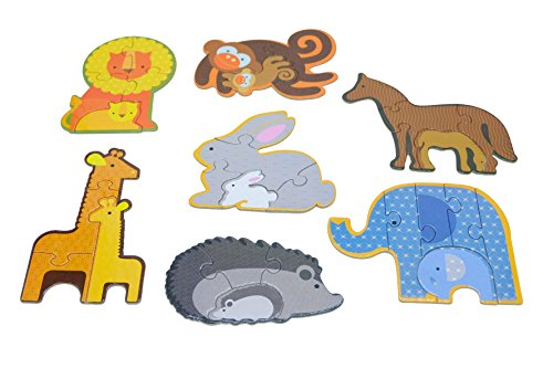 Puzzle 7-In-1 Set – 7 Different Animal Educational Knob Puzzles For Boy & Girl Toddlers – Lion, Rabbit, Elephant, Monkey… Made In Vietnam