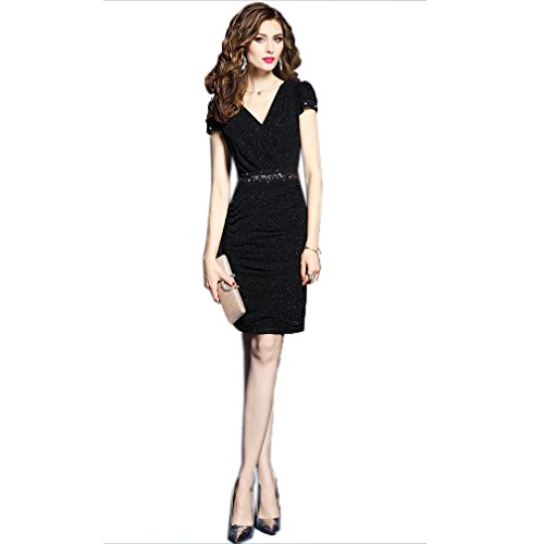 cotyledon Color Solid Dress Dress Fit Neck V Slim Women`s Elegant wxCfOqSwv
