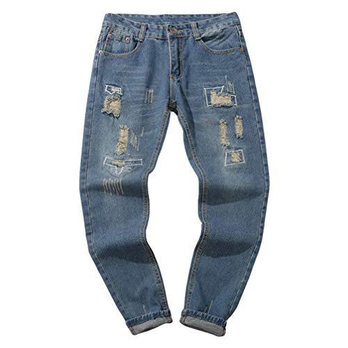 Hombre Jeans Pantalones,Sonnena Vaqueros Ocasionales de algodón de la Vendimia del otoño Denim Cotton Wash Pantalones de Trabajo Jeans Pantalones Larga M