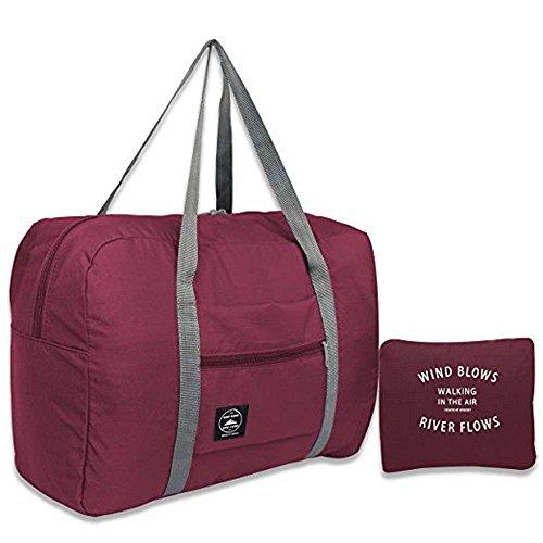 Travel Duffel Bags Lightweight Waterproof Foldable Sports Gym Waterproof Storage Luggage Bag (Wine red)