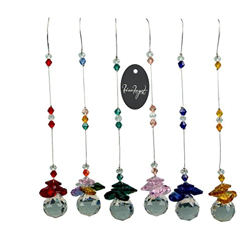 - hierkryst Chandelier Cut Crystals Ball Window Prisms Rainbow Octogon Chakra Suncatcher (6 of Pack)