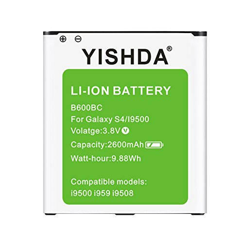 Galaxy S4 Battery, YISHDA 2600mAh Li-ion Replacement Battery for Samsung Galaxy S4 I9500 I9505 I545 M919 I337 L720 | S4 Spare Battery ¨C Green [18 Month Warranty]