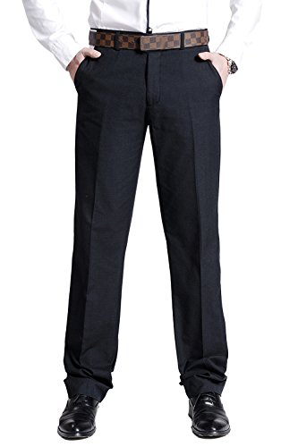 (Men's Flat Front Suit Separate Pant Causal Textured-Pinstripe Trousers)