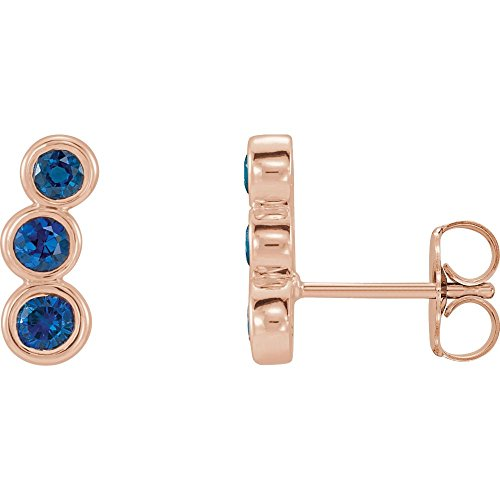 14k Rose Gold Blue Sapphire Gemstone Ear Climbers Crawlers by Jewelplus