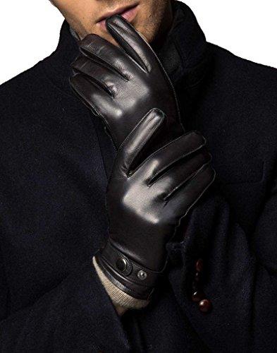 YISEVEN Gants d'homme en cuir de mouton avec la doublure pour hiver, cuir de mouton d'origine australienne, avec la technologie de l'écran tactile