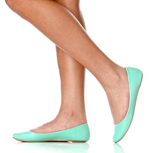 Riverberry Womens Aria Base Fermé Rond Toe Ballet Plat Slip Sur Chaussure Menthe Pu