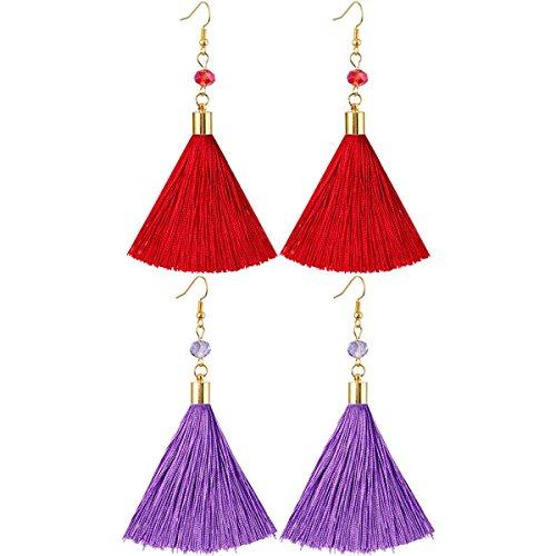 (SUNYIK Bohemia Tassel Earrings, Crystal Drop Dangle Earrings for Women, Red/Purple, Pack of 2)