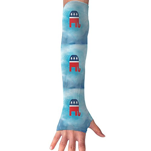 (JIA LI Gloves Elephant With Flag Arm Sleeves Anti-uv Sun Protection Fingerless Long Arm Warmers For Men And Women )