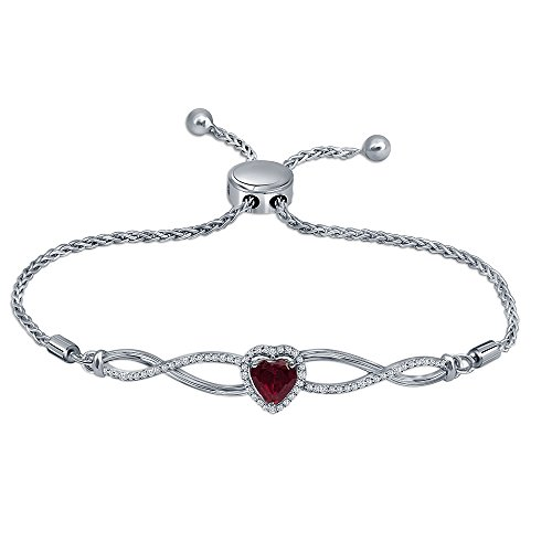 - La Joya 1.55ct Round White Diamond Sterling Silver Heart Created Ruby Infinity Adjustable Bolo Bracelet for Womens Teens