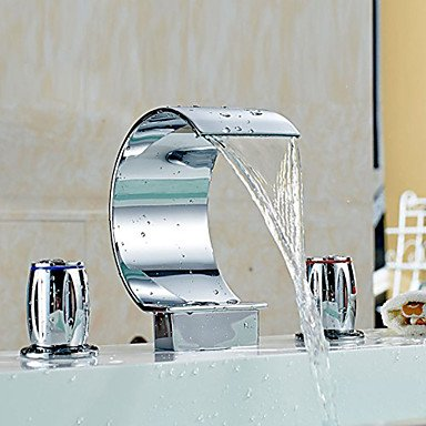 YanCui@ Home bathroom bathtub faucet Waterfall Chrome Bathroom Sink Faucet Vessel Faucet Centerset Widespread Contemporary Two Handle Three Hole Faucets - 3 Hole Centerset Spiral