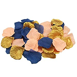 ALLHEARTDESIRES 900 Pack Peach Navy Blue Gold Party Table Confetti Artificial Flower Rose Petals for Wedding Birthday Baby Shower Centerpieces Gender Neutral Party Bridal Shower Decoration 109