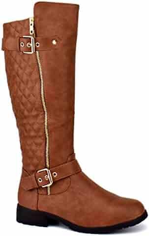 Forever Mango-21 Women's Winkle Back Shaft Side Zip Knee High Flat Riding Boots Tan 10