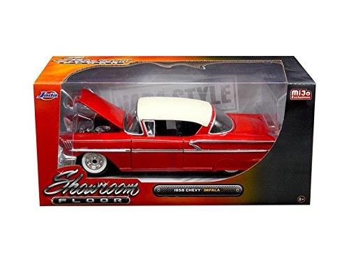 Jada 98896 1958 Chevrolet Impala Red Showroom Floor 1/24 Diecast Model Car