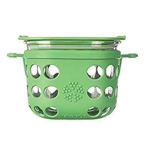 Lifefactory 2 Cup BPA-Free Glass Food Storage and Bakeware with Protective Silicone Sleeve and Lid, Grass Green