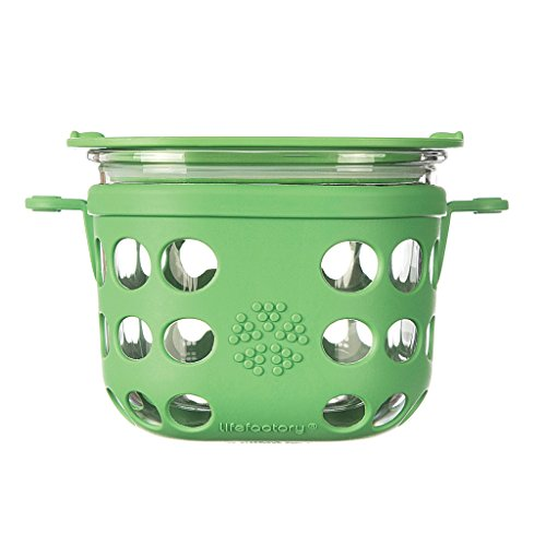 Lifefactory LF420001C6 BPA-Free Glass Protective Silicone Sleeve and Lid Food Storage and Bakeware 2 Cup Grass Green