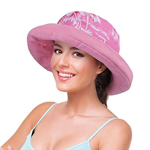 Women Cotton Canvas Reversible Bucket Hat UV Sun Protection Packable Summer Outdoor Safari Hawaiian Travel Beach Golf -
