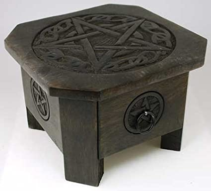 Celtic Pentagram Altar Table with Storage Drawer 7.5 Square in Rich Earch Brown AzureGreen RAT635