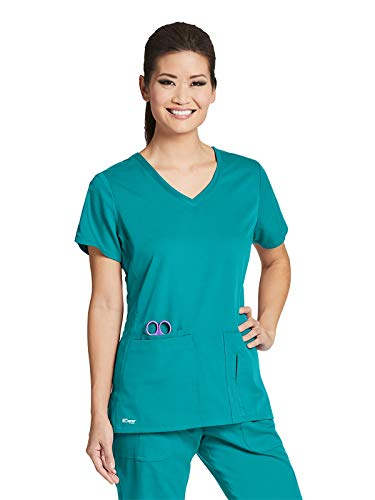 Grey's Anatomy 41423 Women's 4 Pocket Solid Side Panel V-Neck Scrub Top Peacock Blue S (Blue Peacock)