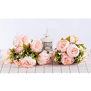 Foraineam Peony Artificial Flowers Home Centerpiece Decor Silk Fake Peonies Wedding Bouquets, Pack of 2 (Spring Pure Pink) 5