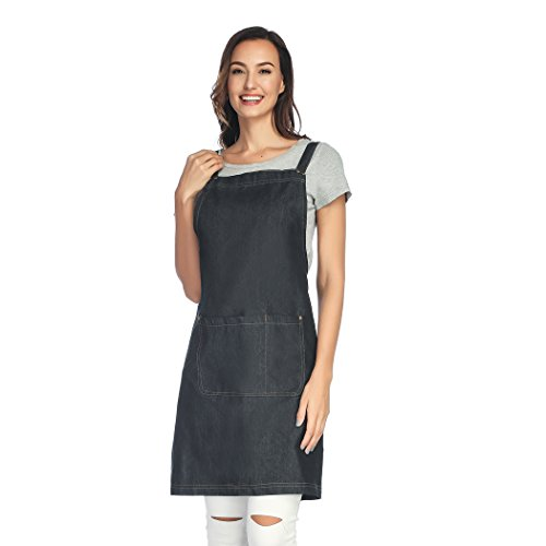 Adjustable Two Pocket Apron - Unisi Unisex-adult Work Apron With Two Pockets Cross Back Straps And Adjustable M to XXXL(Polished BK)