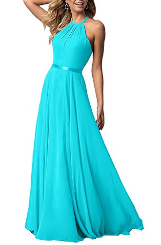 Now and Forever Women's Halter Bridesmaid Dresses Chiffon Flowy Maxi Evening Party Gowns (Aqua,10) - Aqua Blue Chiffon