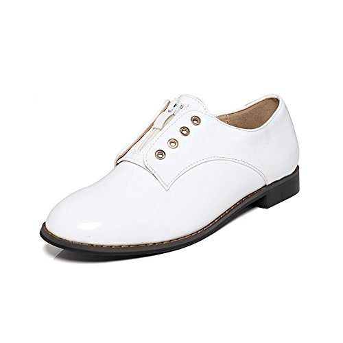 SendIt4Me Flat Slip on Shoes with Lace Holes White 8qdgy