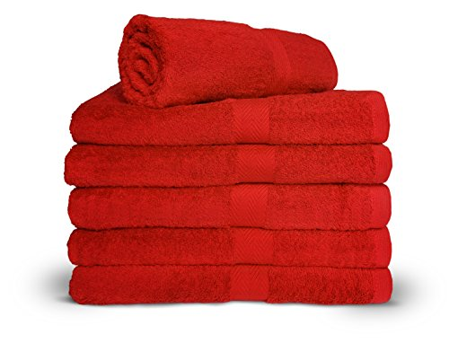 Royal Comfort Salsa Red 24x48 Bath Towels by, 9.0 Lbs per dz, Combed Cotton. Sold as 6 towels per pack. ()