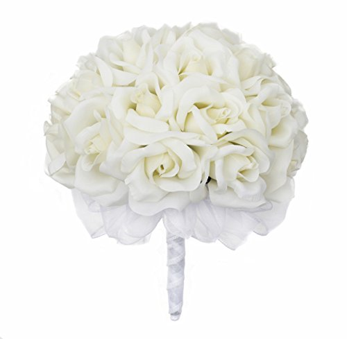 Ivory-Silk-Rose-Hand-Tie-24-Roses-Artificial-Bridal-Wedding-Bouquet