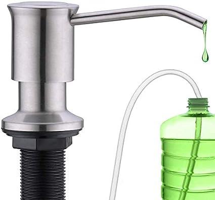 CREA Dispensador de jabón dispensador de detergente de cocina incorporado de acero inoxidable Dispensador para fregaderos con botella de 500ML y juego de manguera de extensión de 1.0 m
