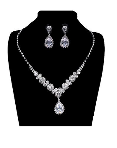 (UDORA Rhinestones Necklace Earrings Jewelry Sets for Bridal Wedding Party (T1219))