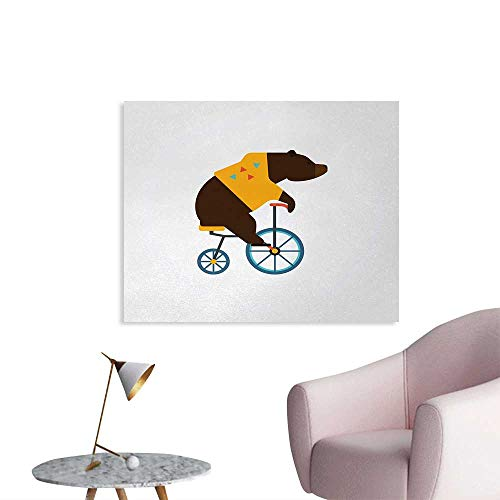 Bicycle Space Poster Big Teddy Bear Icon of Circus Riding Bicycle with Hipster Costume Animal Image Home Decor Wall Brown Yellow W36 xL32